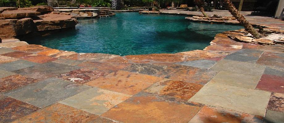 outdoor tiles and pool tiles in Kakadu slate tiles