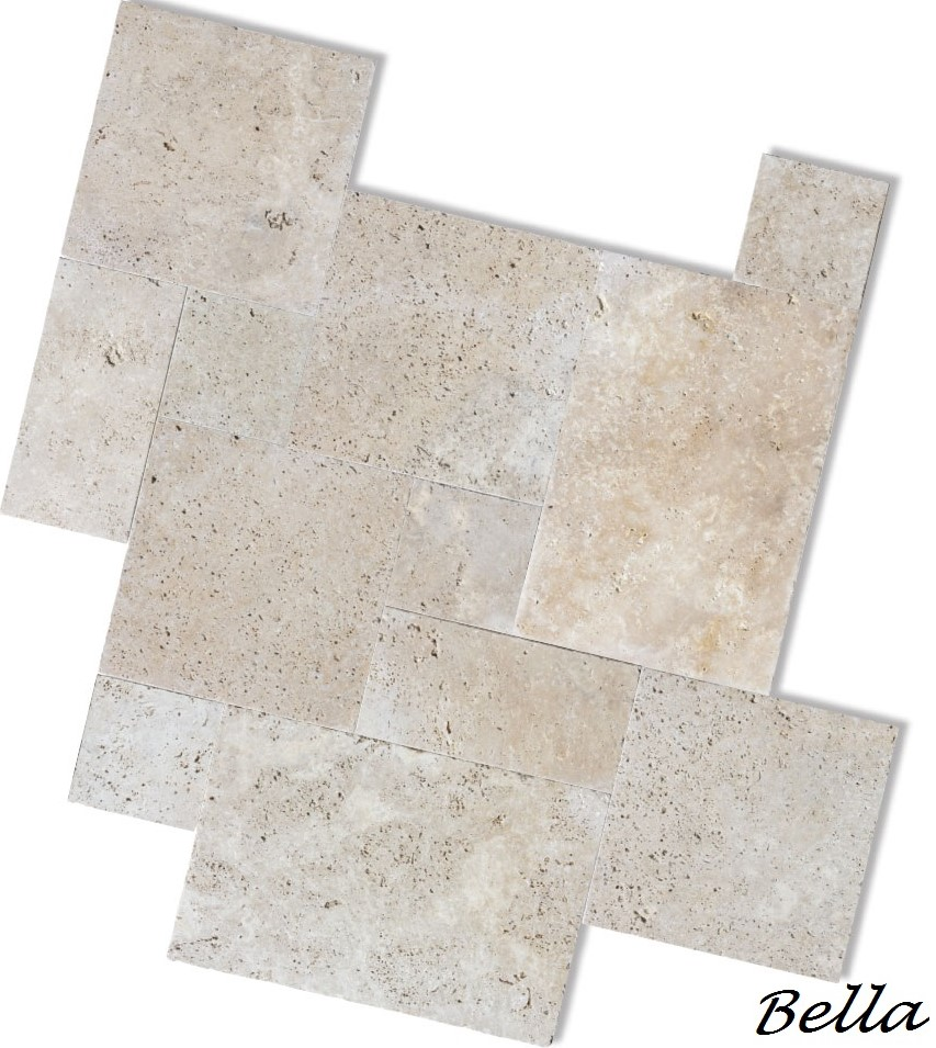 IVORY TRAVERTINE POOL PAVERS ALBURY FRENCH PATTERN