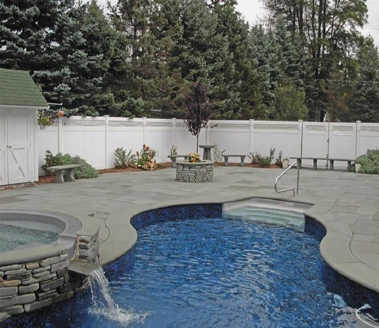 Curved Pool Coping, Custom made pool coping, drop face pool coping, curved bluestone pool coping
