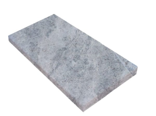 Silver Travertine Unfilled and Tumbled Pool Coping Tiles